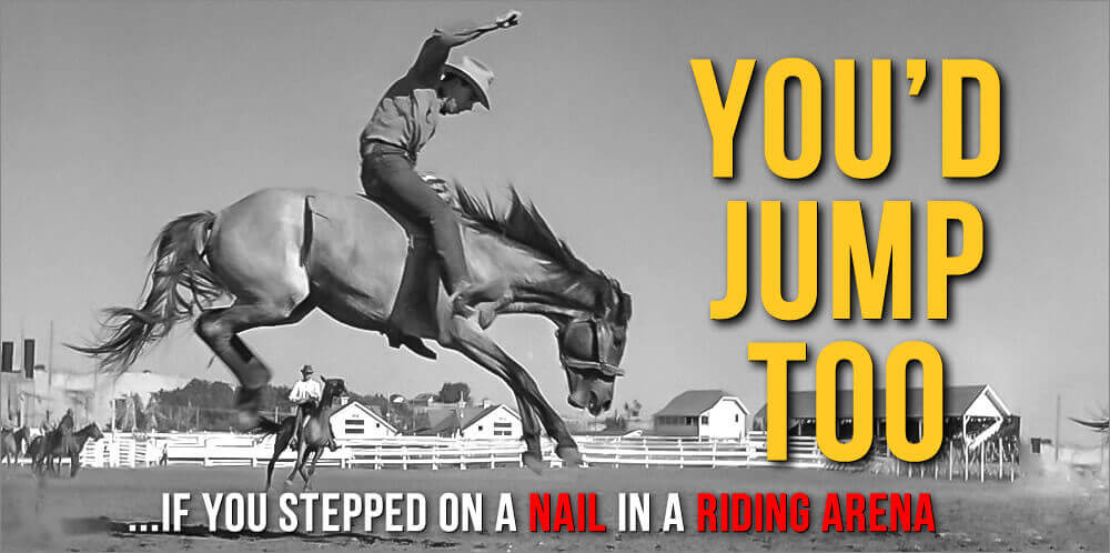 You'd Jump Too...If you stepped on a nail in a riding arena.