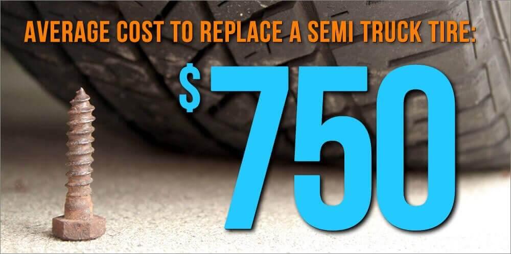 Average Cost to Replace a Semi Truck Tire: 750.00
